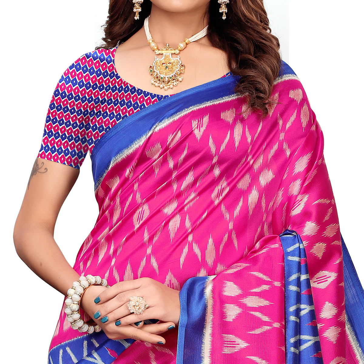 Imposing Pink-Blue Colored Casual Printed Mysore Silk Saree