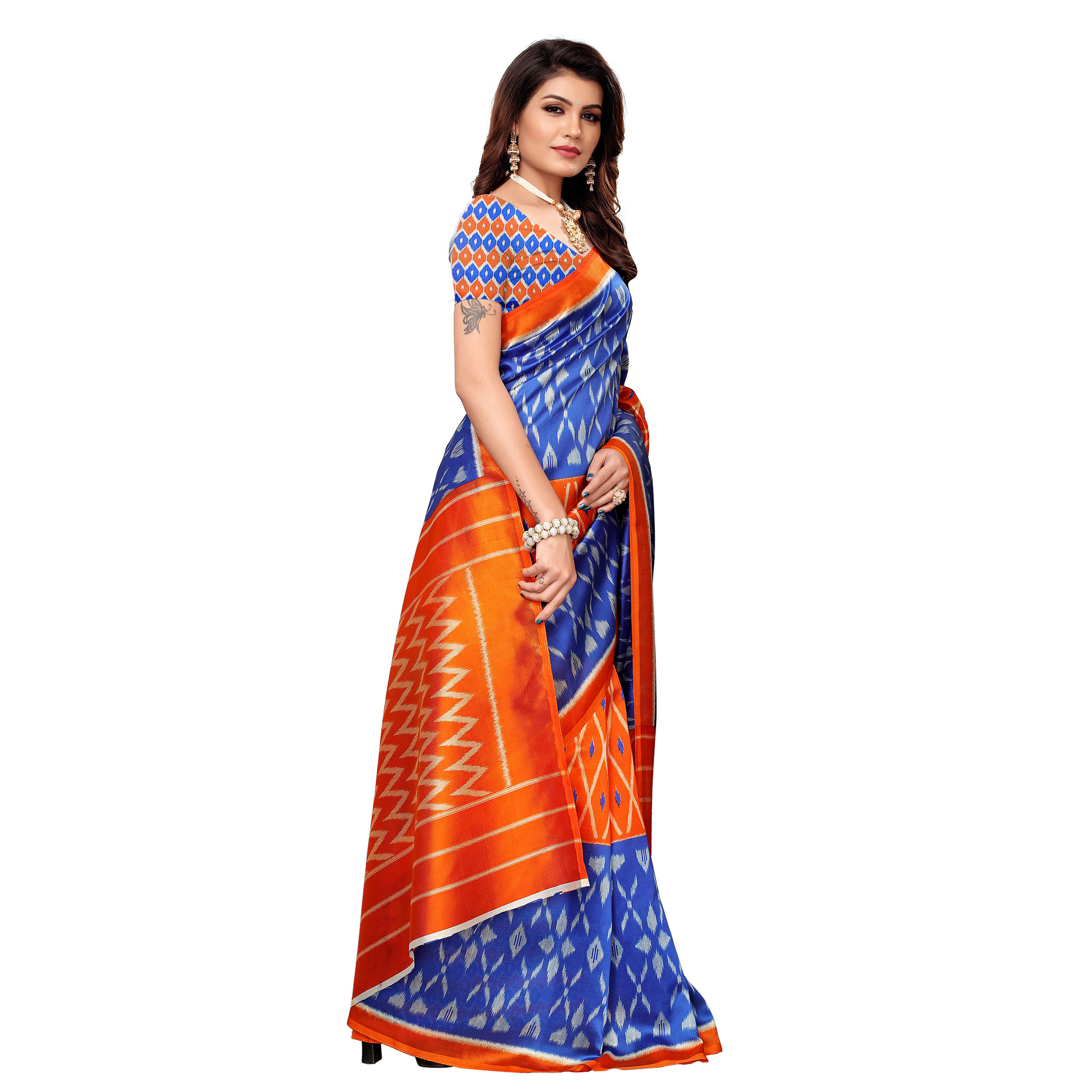 Lovely Blue-Orange Colored Casual Printed Mysore Silk Saree