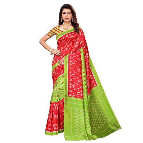 Majesty Red-Green Colored Casual Printed Mysore Silk Saree