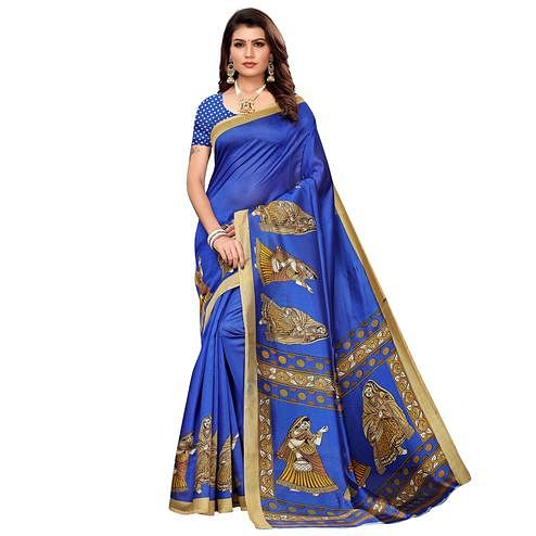 Flattering Blue Colored Casual Printed Mysore Silk Saree