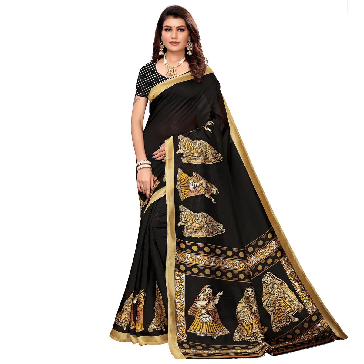 Jazzy Black Colored Casual Printed Mysore Silk Saree