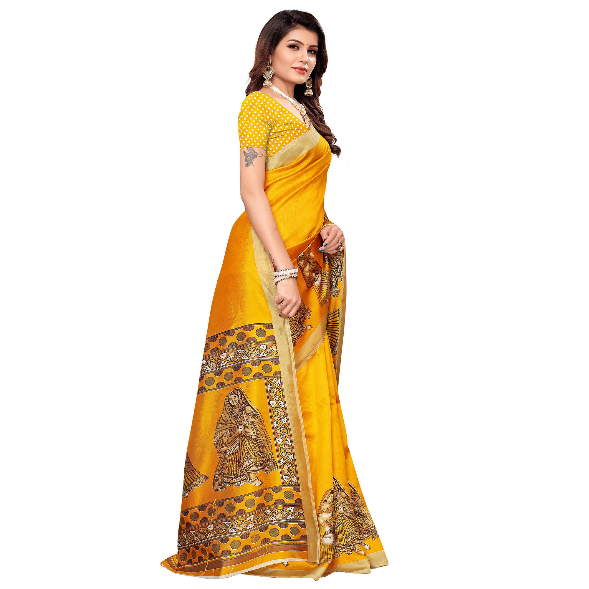 Excellent Yellow Colored Casual Printed Mysore Silk Saree