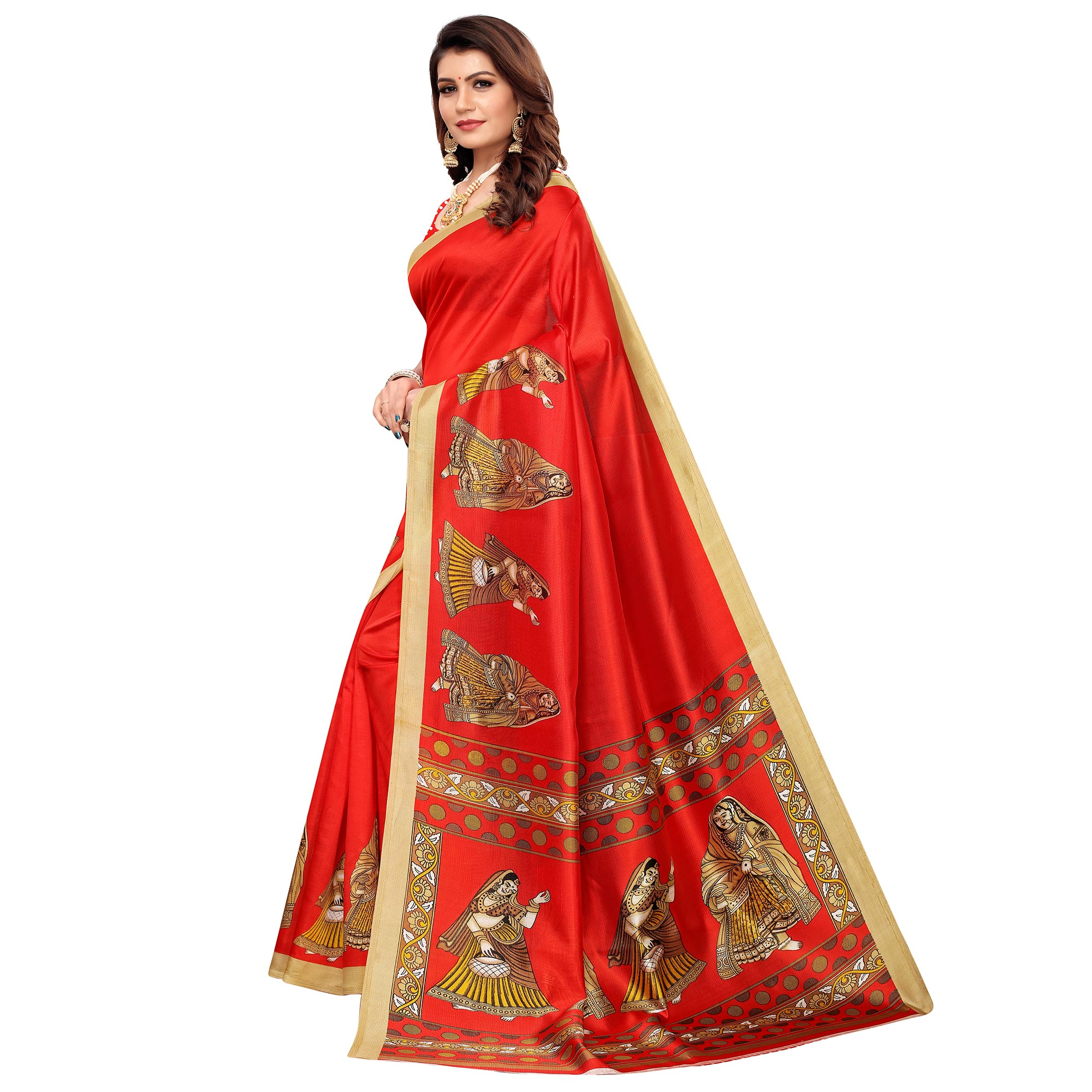 Preferable Red Colored Casual Printed Mysore Silk Saree