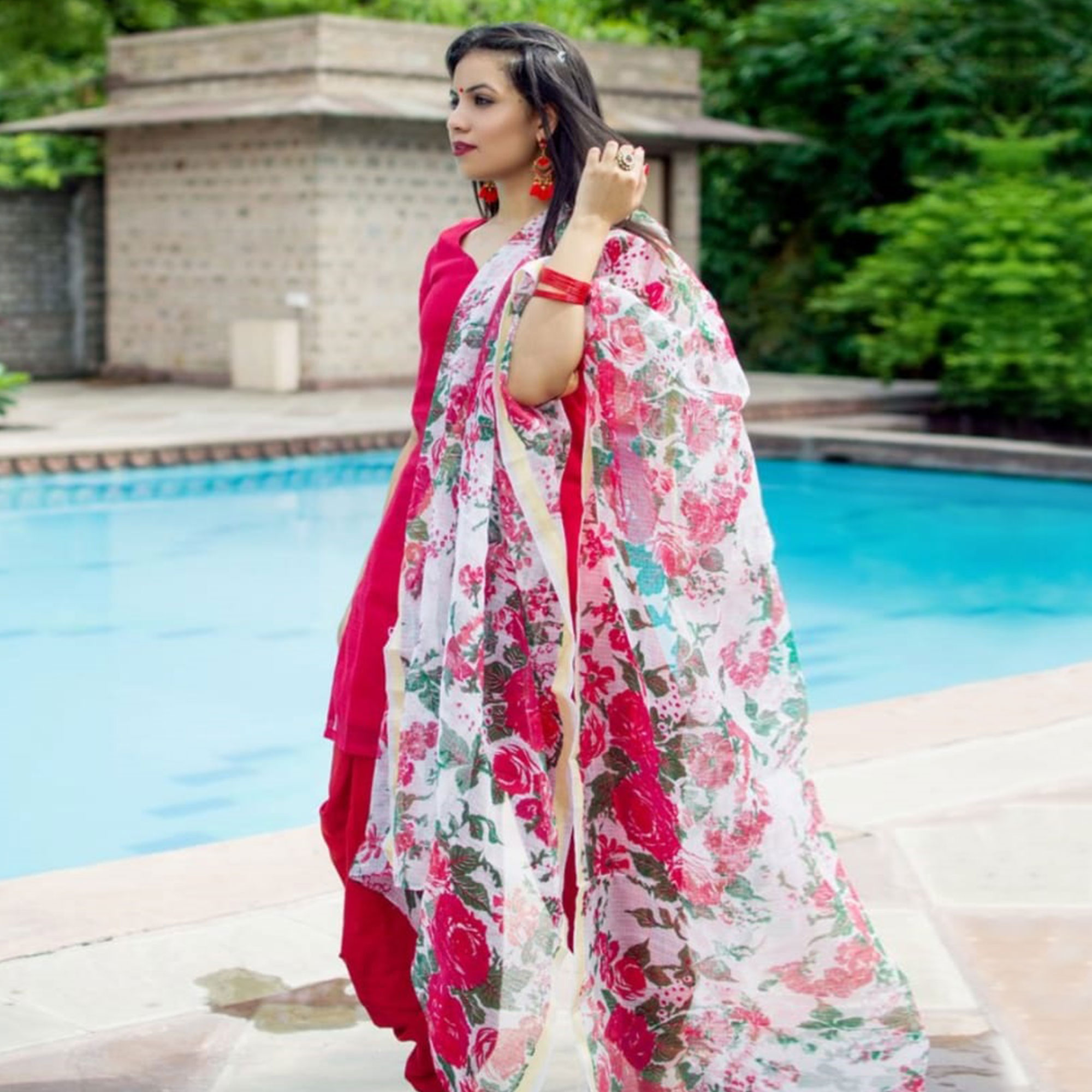 Lovely Red Colored Partywear Tapeta Silk Patiala Suit