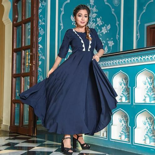 Majesty Navy Blue Colored Casual Wear Cotton Long Kurti