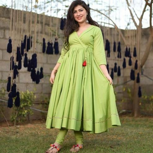 Impressive Bright Green Colored Partywear Tapeta Silk Angrakha Suit