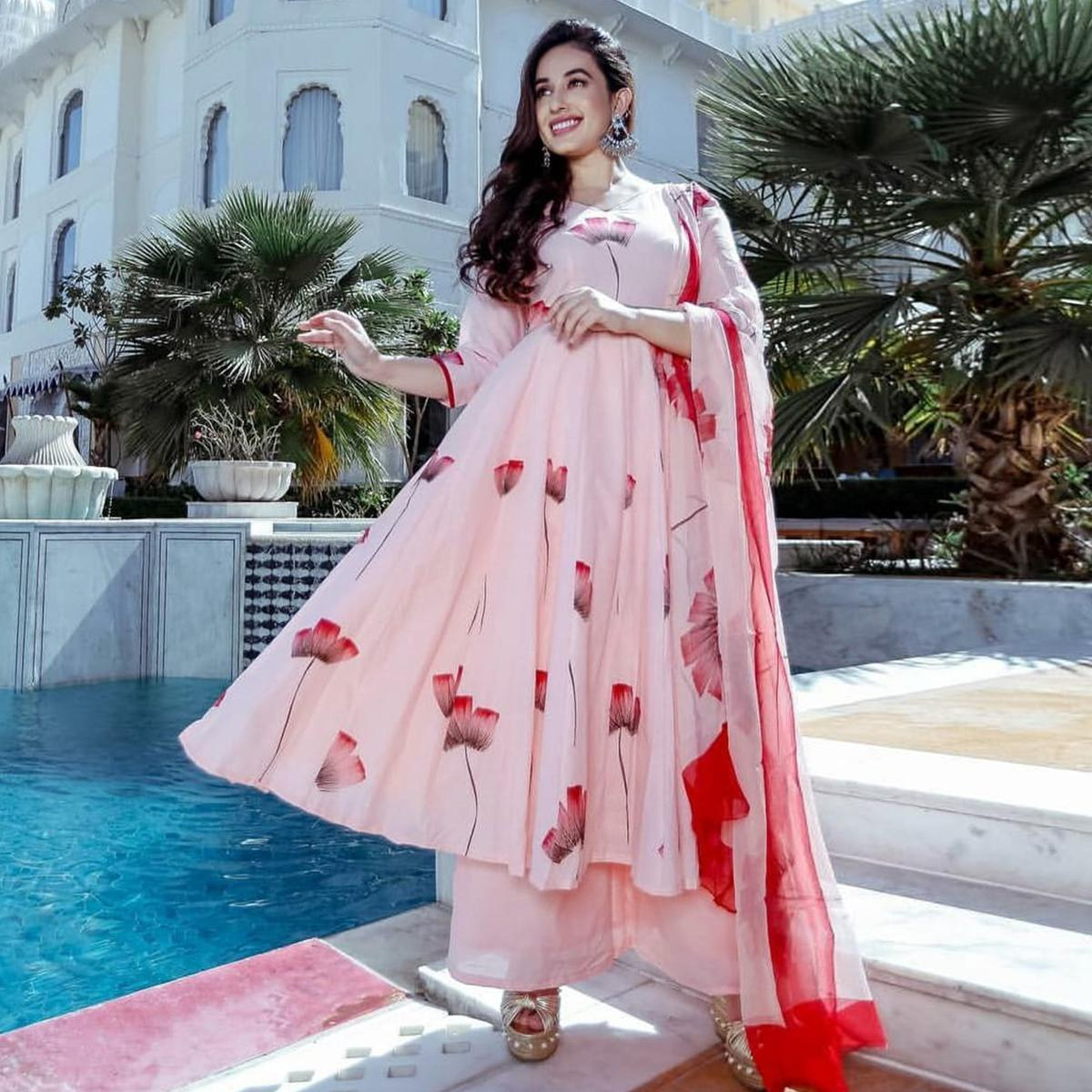 Pleasance Pastel Pink Colored Partywear Printed Crepe Palazzo Suit
