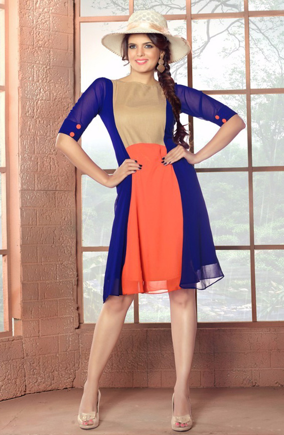 Orange - Blue Cotton Kurti