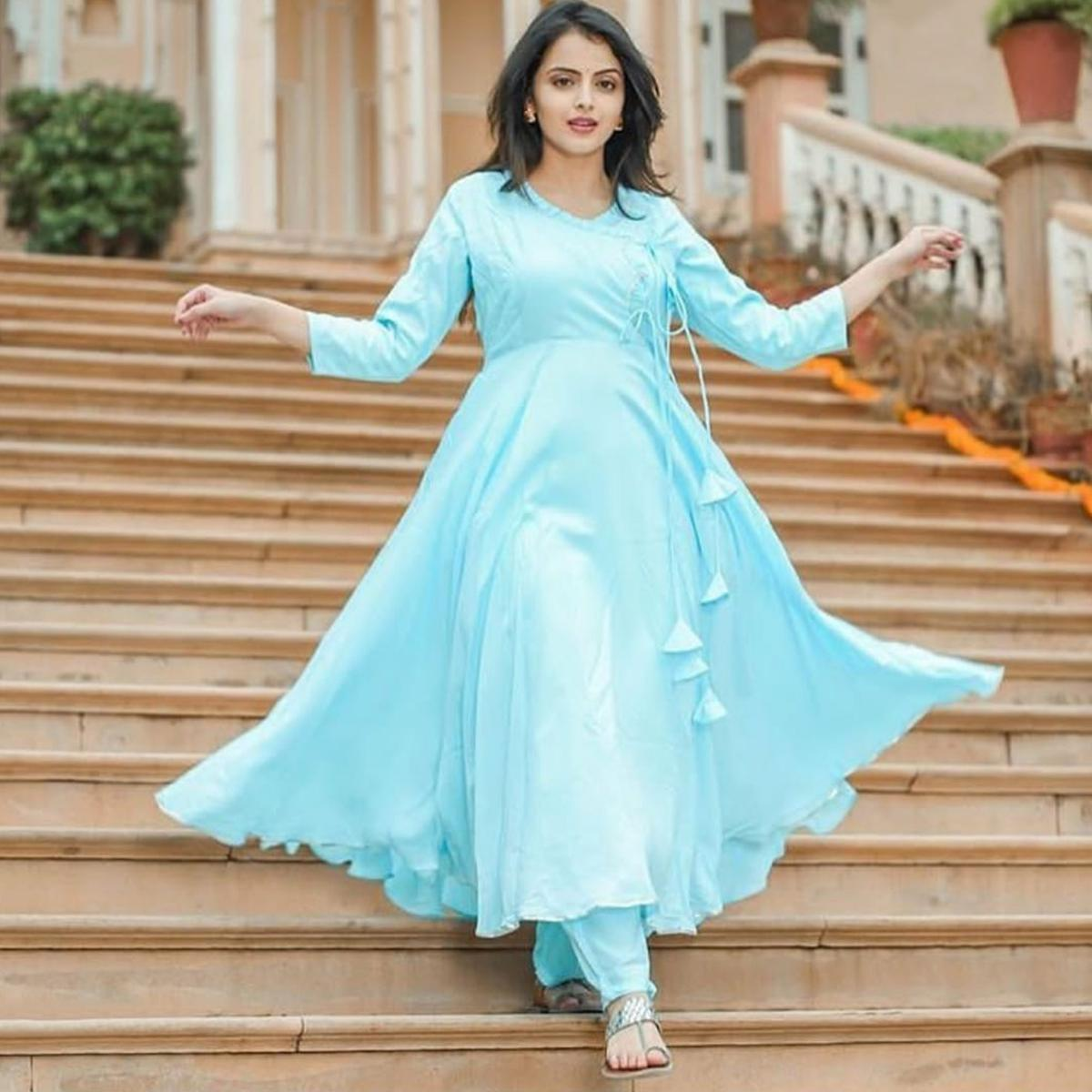 Breathtaking Sky Blue Colored Partywear Cotton Angrakha Suit