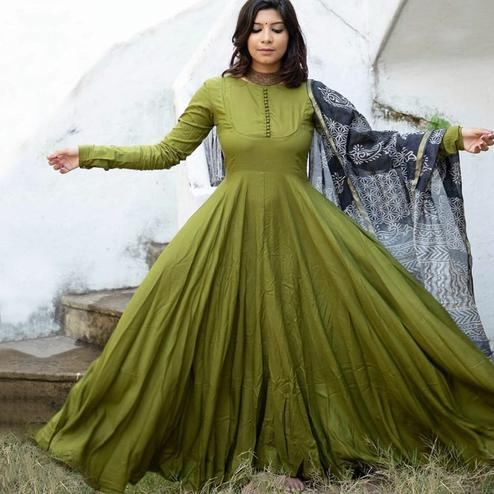 Ethnic Mehendi Green Colored Partywear Tapeta Silk Anarkali Suit