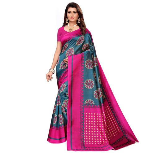Flamboyant Stone Blue Colored Casual Printed Mysore Silk Saree
