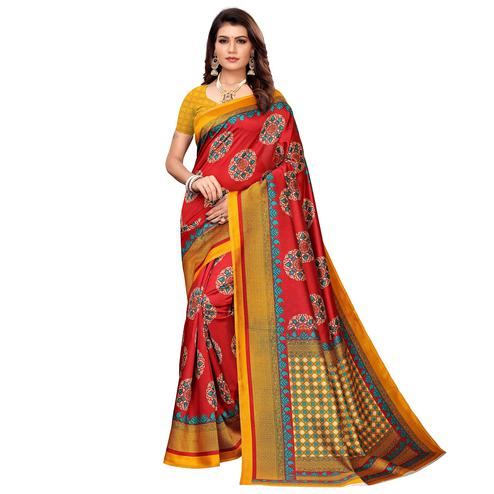 Pretty Red Colored Casual Printed Mysore Silk Saree