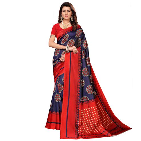 Groovy Navy Blue Colored Casual Printed Mysore Silk Saree