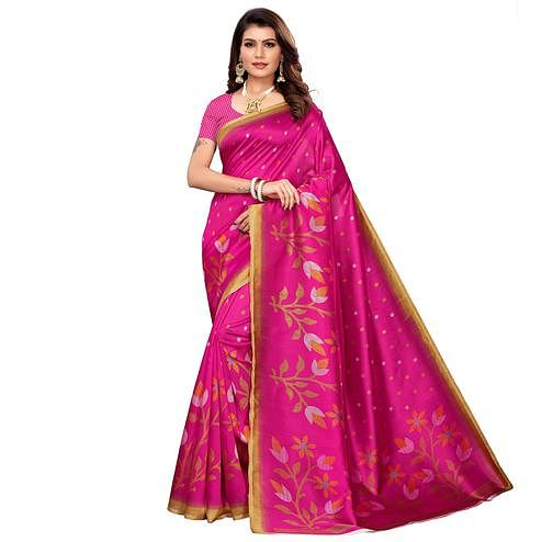 Gleaming Pink Colored Casual Printed Mysore Silk Saree