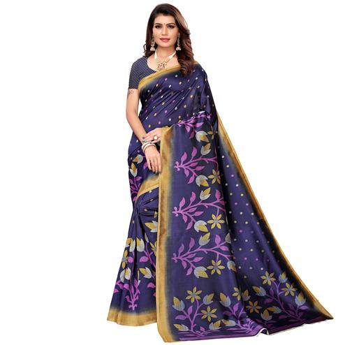 Mesmeric Navy Blue Colored Casual Printed Mysore Silk Saree