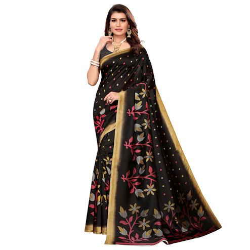 Unique Black Colored Casual Printed Mysore Silk Saree