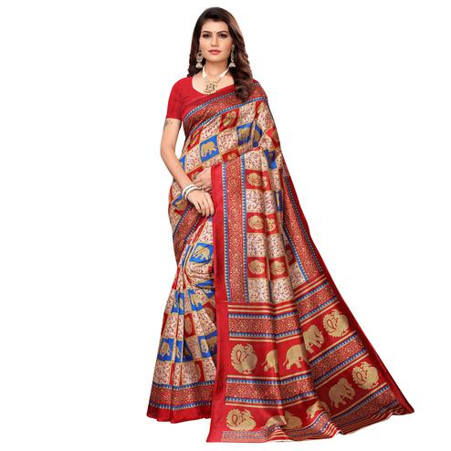 Magnetic Beige-Red Colored Casual Printed Mysore Silk Saree