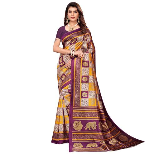 Hypnotic Beige-Purple Colored Casual Printed Mysore Silk Saree