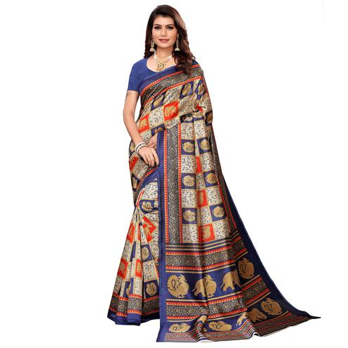 Flattering Beige-Navy Blue Colored Casual Printed Mysore Silk Saree