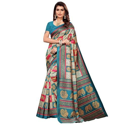 Excellent Beige-Blue Colored Casual Printed Mysore Silk Saree