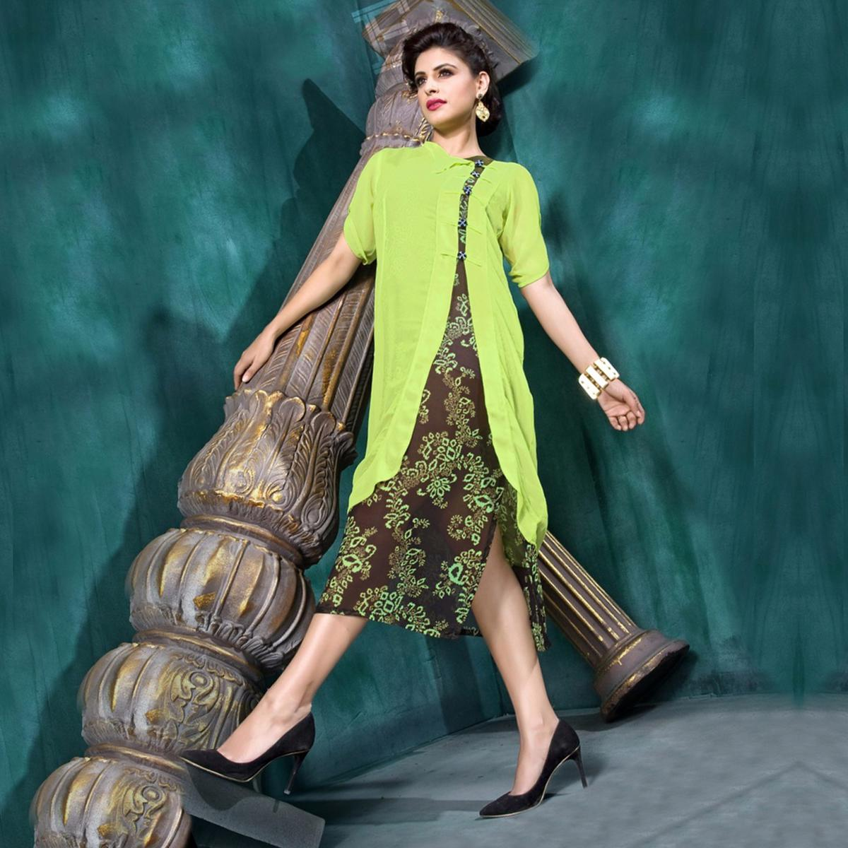 Lime Green - Brown Georgette Kurti