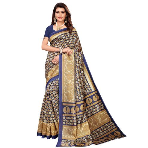 Desirable Navy Blue Colored Casual Printed Mysore Silk Saree