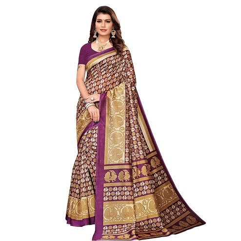 Exotic Purple Colored Casual Printed Mysore Silk Saree