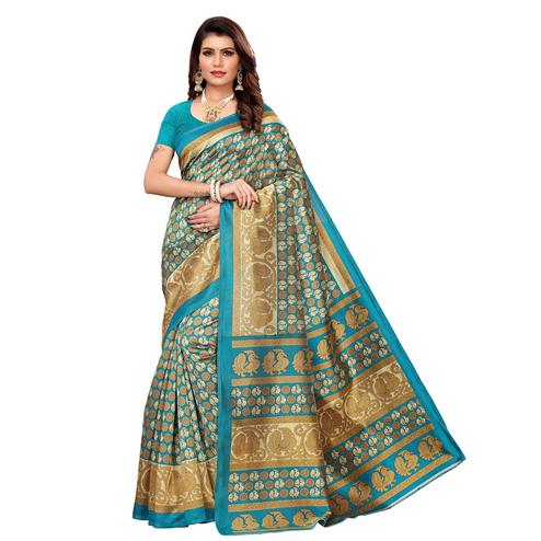 Sophisticated Blue Colored Casual Printed Mysore Silk Saree