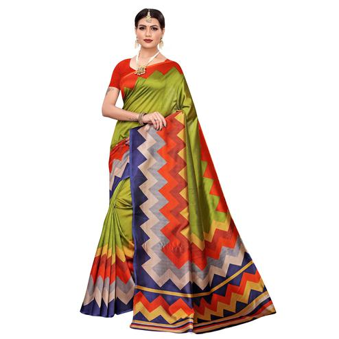 Elegant Green-Multi Colored Casual Printed Mysore Silk Saree