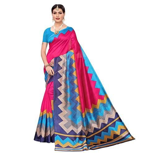 Radiant Pink-Multi Colored Casual Printed Mysore Silk Saree