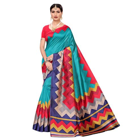 Pleasant Rama Blue-Multi Colored Casual Printed Mysore Silk Saree