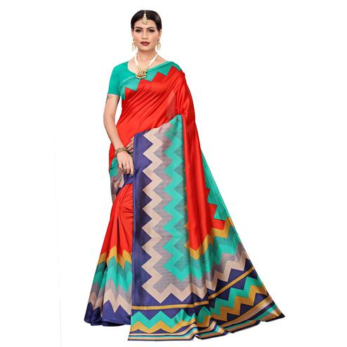 Opulent Red-Multi Colored Casual Printed Mysore Silk Saree
