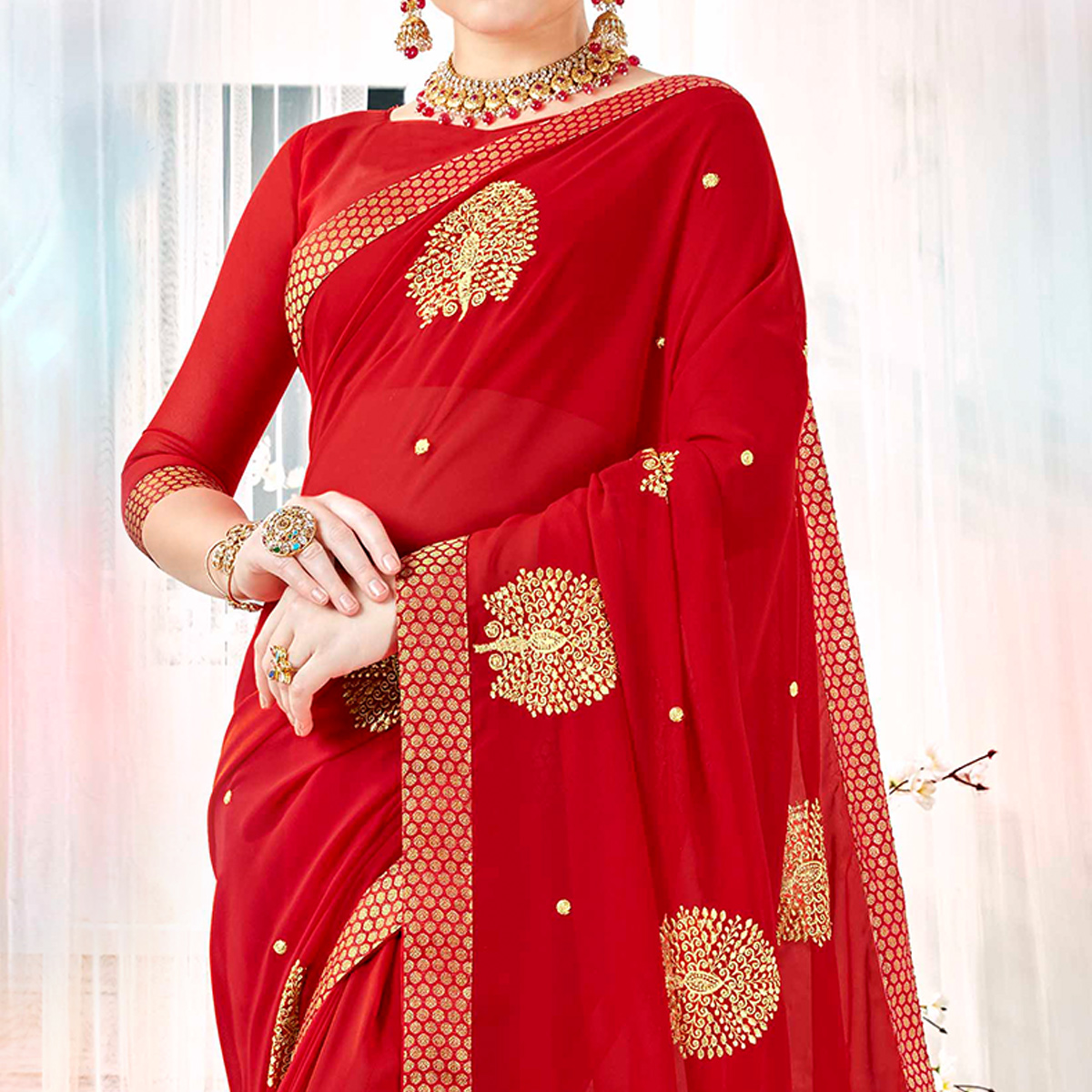 Adorning Red Colored Partywear Embroidered Rangoli Silk Saree