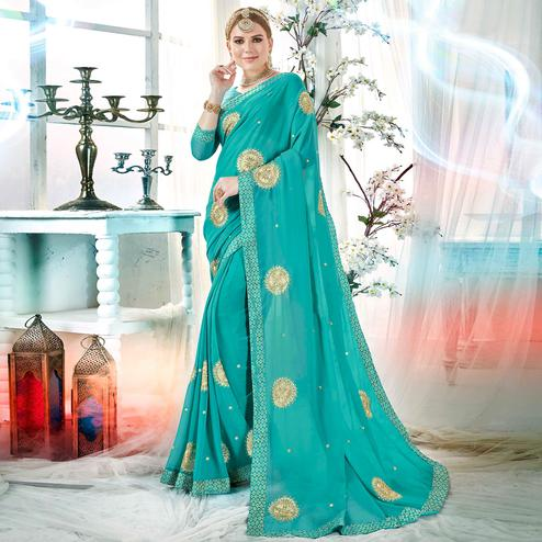 Appealing Sky Blue Colored Partywear Embroidered Rangoli Silk Saree