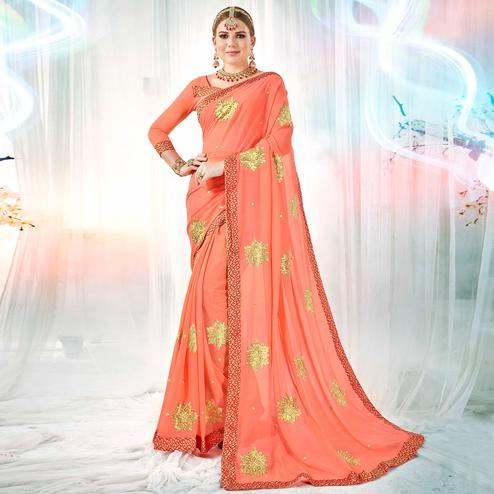 Capricious Peach Colored Partywear Embroidered Rangoli Silk Saree
