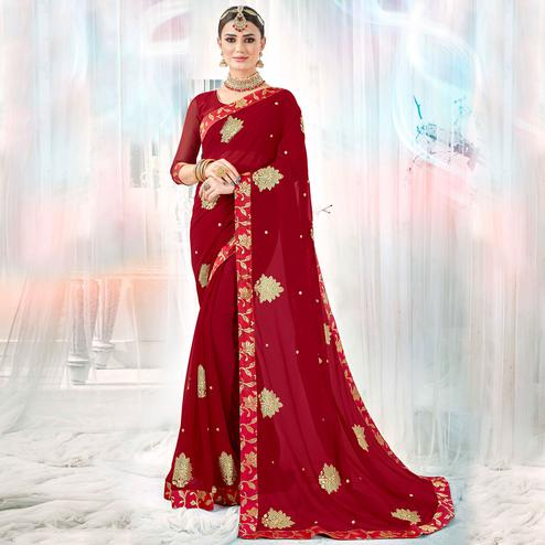Entrancing Maroon Colored Partywear Embroidered Rangoli Silk Saree