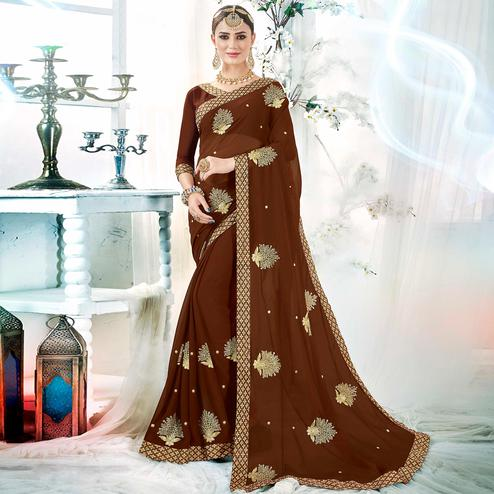 Groovy Brown Colored Partywear Embroidered Rangoli Silk Saree