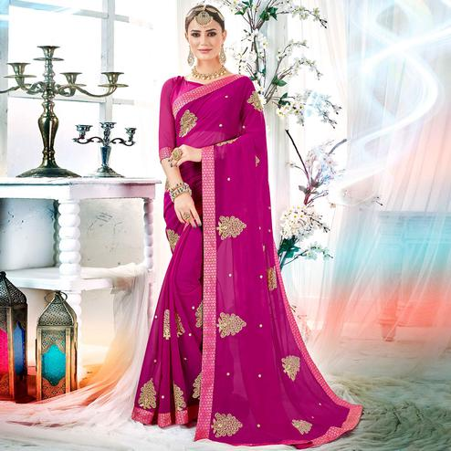 Prominent Rani Pink Colored Partywear Embroidered Rangoli Silk Saree
