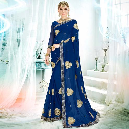 Elegant Royal Blue Colored Partywear Embroidered Rangoli Silk Saree