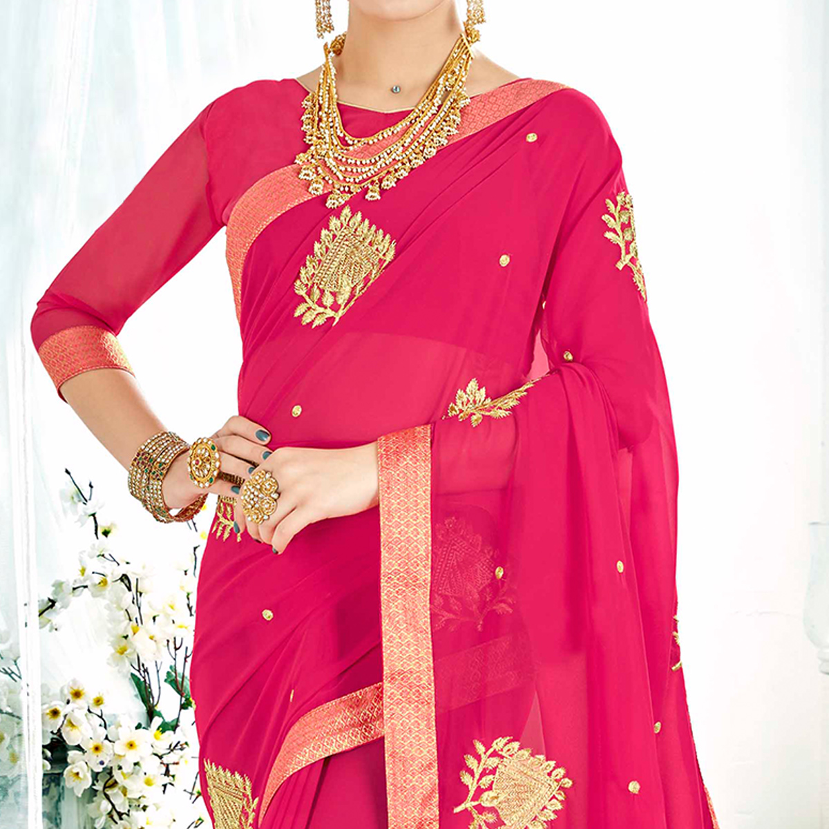 Radiant Pink Colored Partywear Embroidered Rangoli Silk Saree