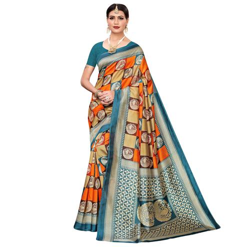 Adorable Orange-Multi Colored Casual Printed Mysore Silk Saree