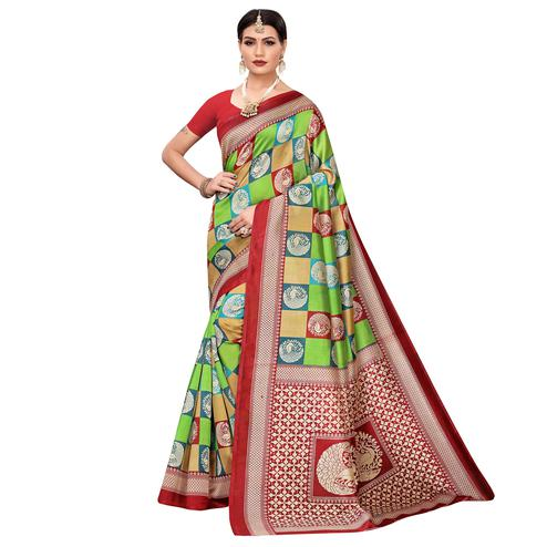 Glorious Green-Multi Colored Casual Printed Mysore Silk Saree