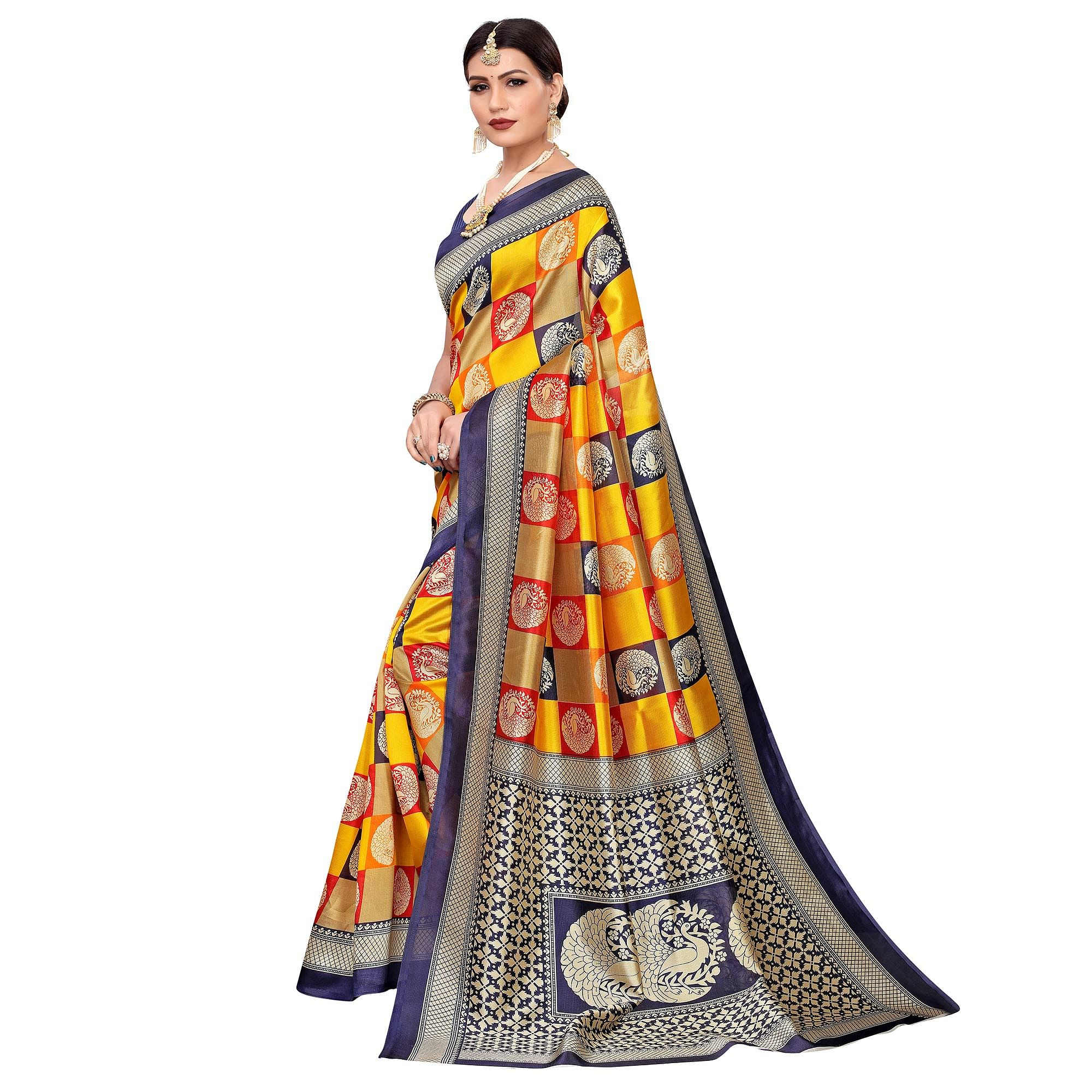 Attractive Yellow-Multi Colored Casual Printed Mysore Silk Saree