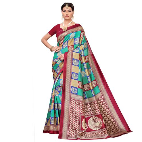 Beautiful Turquoise Green-Multi Colored Casual Printed Mysore Silk Saree
