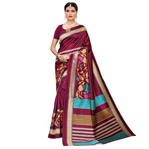 Blooming Deep Magenta Pink Colored Casual Printed Mysore Silk Saree