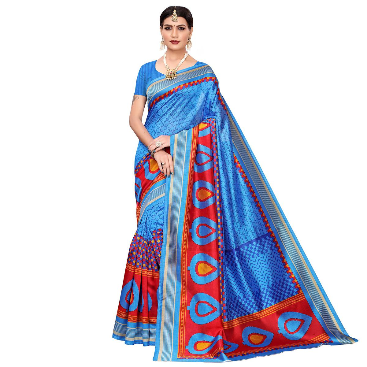 Engrossing Sky Blue Colored Casual Printed Mysore Silk Saree