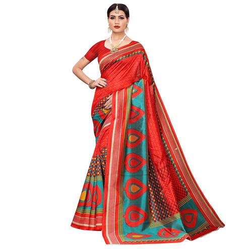 Captivating Red Colored Casual Printed Mysore Silk Saree
