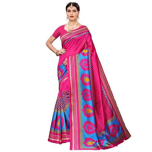 Innovative Pink Colored Casual Printed Mysore Silk Saree