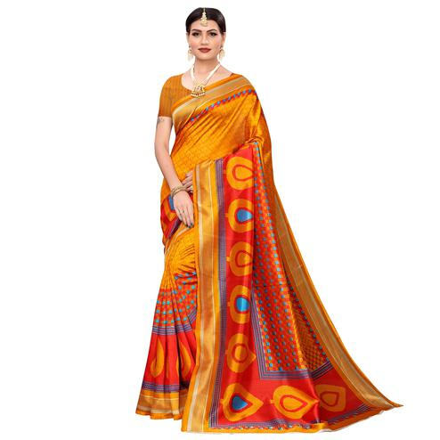 Eye-catching Light Orange Colored Casual Printed Mysore Silk Saree