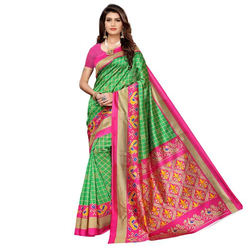 Amazing Green Colored Casual Printed Mysore Silk Saree